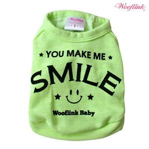 【WOOFLINK】(ウーフリンク)YOUMAKEMESMILE(犬服小型犬セレブTシャツスウェットヴィンテージネオン)