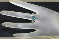 パライバカラーアパタイトキャッツアイ2.88CT・ダイヤPTリング