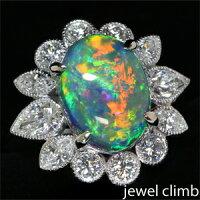 高品質ブラックオパール6.18CTダイヤモンド1.95CTプラチナリング