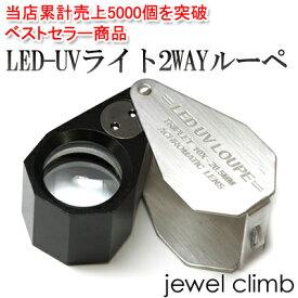 宝石や、ジュエリー、高級時計にどうぞ。LED-UVライト2WAYルーペ(Silver)