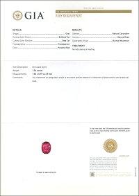 GIAルース鑑別書付きビルマ産非加熱ルビー1.84CTダイヤPTリング