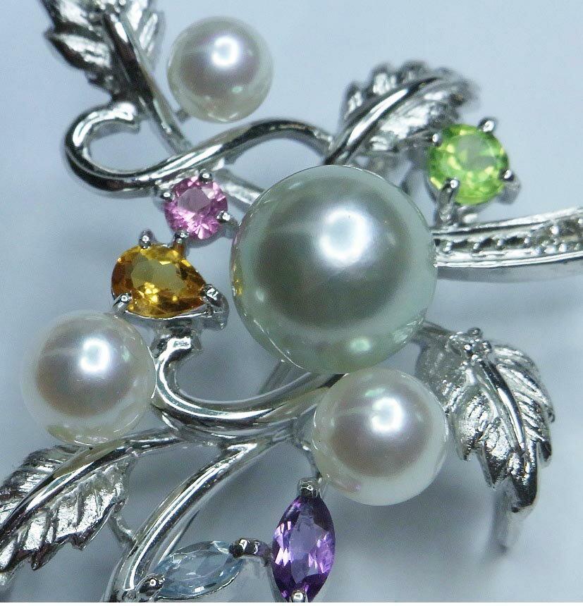 K18WGペンダント兼用ブローチ和珠真珠 8.0mm〜4.2mmダイヤ/半貴石【送料無料】【あす着・関東】【ダイヤ】【ペンダント】【ギフト】【ブローチ】【あこや】