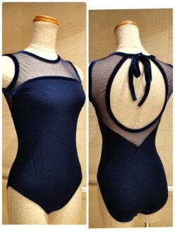 Head around the mesh ★ sleeveless ★ back Ribbon ★ Navy Blue mesh x spandex Ballet leotards Jewelesque original