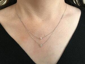 【送料無料】 K18WG ダイヤモンド アコヤ本真珠 2連ネックレス パール 18金 ホワイトゴールド おしゃれ かわいい 細身 華奢 ギフト プレゼント 入学式 成人式 ヤング お