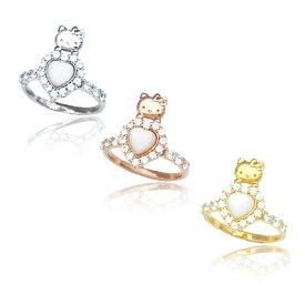 ハローキティ ハート リング 大人 かわいい キティちゃん 指輪 Hello Kitty シェル マザーオブ パール ジュエリー 誕生日プレゼント キティ ギフト プレゼント 30代 40代 50代 おすすめ 女性 レディースジュエリー