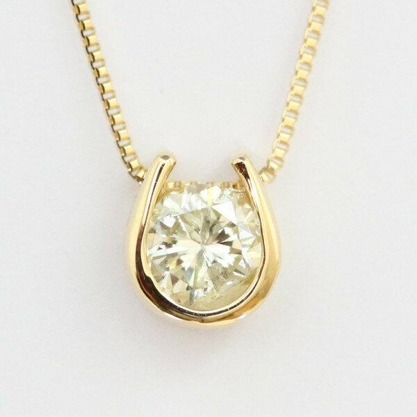 【3月21日から26日全品ポイント5倍】【送料無料】K18 クローバー モチーフ ダイヤモンドネックレス トップも18Kチェーンも18K!天然ダイヤモンド1石 計0.2ct トップ裏は幸運を呼ぶクローバー!