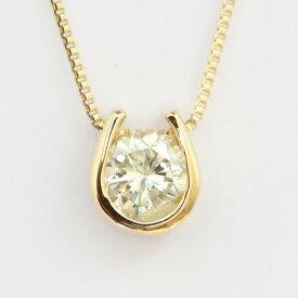 【送料無料】K18 クローバー モチーフ ダイヤモンドネックレス トップも18Kチェーンも18K!天然ダイヤモンド1石 計0.2ct トップ裏は幸運を呼ぶクローバー!