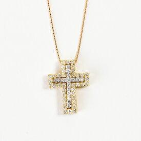 K18 2ウェイ ダイヤモンドネックレス k18ネックレス 18k k18 ネックレス メンズ クロス ダイヤ 0.54ct(ジュエリーケース付き) 気分に合わせて2Way
