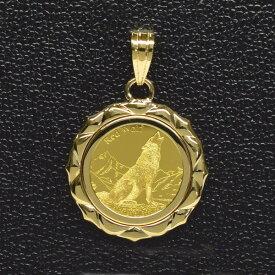 ウルフ&コンドル金貨 K24(純金 K24) 1/25オンス ウルフ&コンドル K18枠付きペンダントトップ