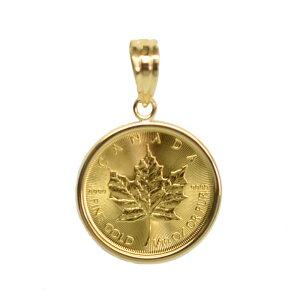 【送料無料】 K24 純金 人気のメイプルリーフ金貨 1/10oz K18枠 ペンダントトップ
