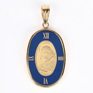 PAMP 聖母マリアコイン K24(純金) 1g マリアコイン K18枠付きペンダントトップ(ブルー)