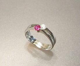 可憐で繊細なデザインです☆ K18WGルビー&ダイヤモンドリング