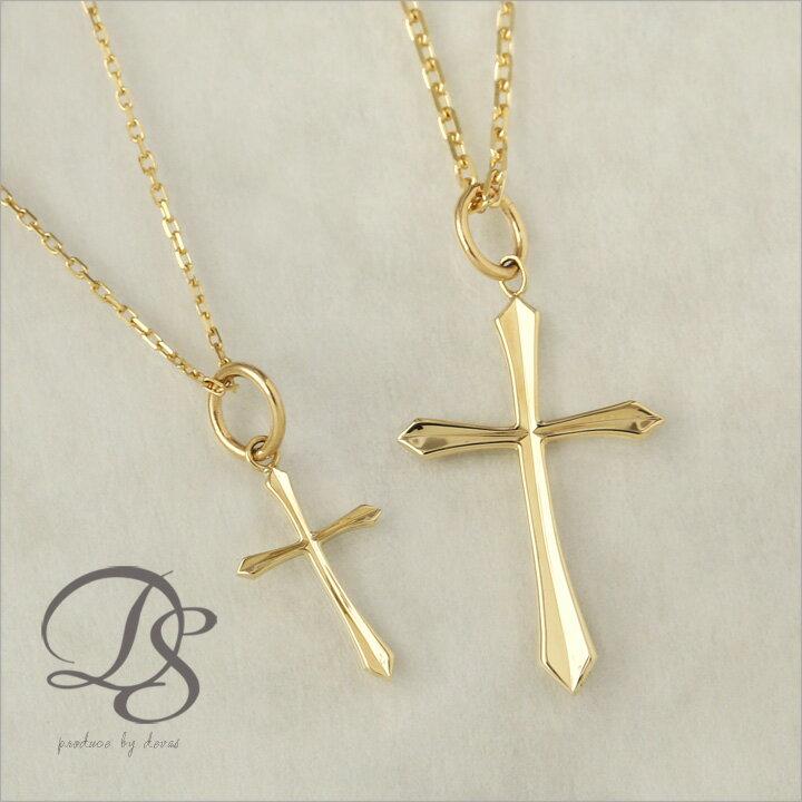 K18 ゴールド ペア ネックレス クロス エッジデザイン 十字架 レディース メンズ 18K 18金 DEVAS ディーヴァス