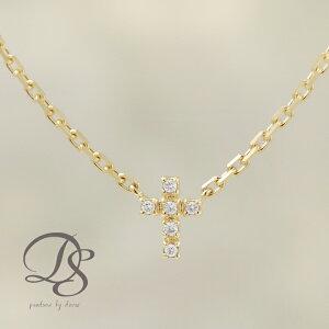 ゴールド アンクレット 18金 18K K18 ダイヤモンド 6石 クロス 十字架 レディース おしゃれ シンプル 地金 あずきチェーン アジャスター付き 大人 記念日 上品 誕生日 DEVAS ディーヴァス プレゼ