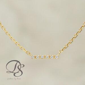 ゴールド アンクレット 18金 18K K18 ダイヤモンド 6石 バー 棒 レディース おしゃれ シンプル 地金 あずきチェーン アジャスター付き 大人 上品 記念日 誕生日プレゼント DEVAS ディーヴァス
