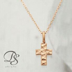 K18 ピンクゴールド PG ネックレス クロス 十字架 刻印 18金 18k イニシャル あずきチェーン レディース メンズ セミオーダー アルファベット 数字 お守り 名入れ 華奢 誕生日 プレゼント DEVAS ディーヴァス