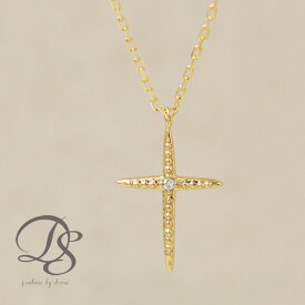 K18 ゴールド ネックレス 18金 18k ダイヤモンド 1石 1粒ダイヤ クロス 十字架 ミル打ち ミルグレイン アンティーク あずきチェーン お守り レディース 金属アレルギー対応 大人 かわいい おしゃれ 上品 誕生日 プレゼント DEVAS ディーヴァス