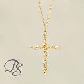 K18 ゴールド ネックレス 18金 18k ダイヤモンド 7石 ブロック クロス 十字架 あずきチェーン お守り レディース 金属アレルギー対応 大人 かわいい おしゃれ 個性的 誕生日 プレゼント DEVAS ディーヴァス