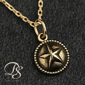 ゴールド ネックレス メンズ ネックレス レディース K18 ネックレス星 スター コンチョ ボタン ペンダント誕生日 プレゼント 贈り物 DEVAS ディーヴァス 【送料無料】