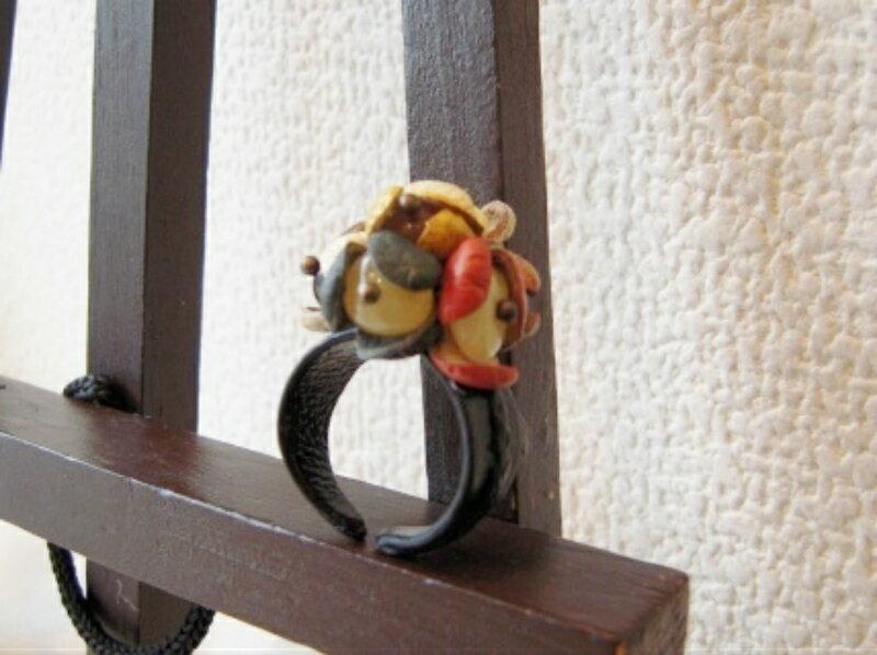 【天然琥珀】琥珀 こはく 指輪 花リング レザーリング 送料無料