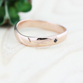 指輪 リング ピンクゴールド K10 星座 射手座 シンボルマーク 彫刻 ダイヤ 0.01ct レディース メンズ
