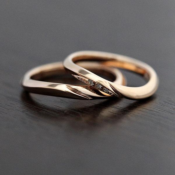 K10PG シンプルラインリング ダイヤモンド 0.03ct マリッジリング ピンクゴールド ペアリング【結婚指輪】