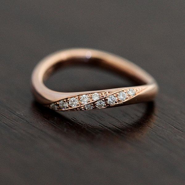 K10PG ダイヤモンド 0.10ct ピンクゴールド レディースリング【結婚指輪】