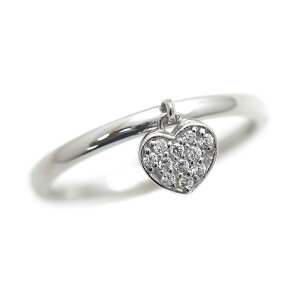 指輪 女性用 K18WG 天然ダイヤモンド ハートリング 0.10ct ハートチャーム ホワイトゴールド リング レディースリング サンキュークーポン