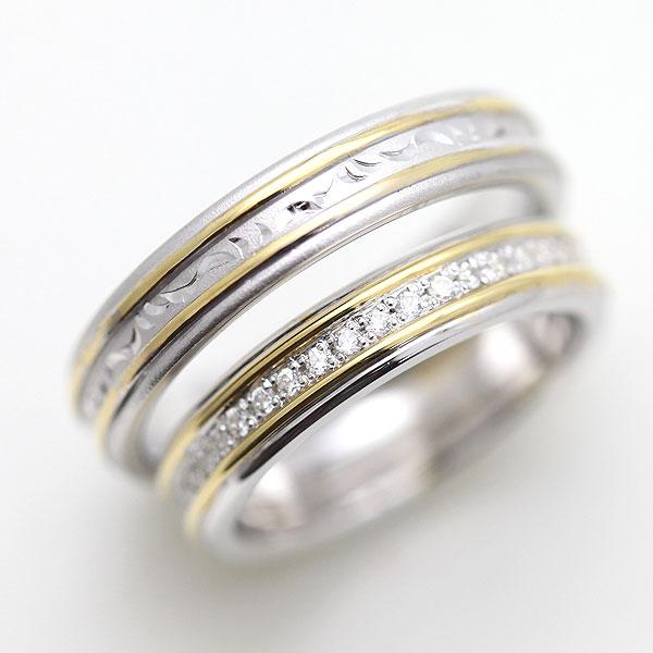 PT900(Pt90%)/K18YG ダイヤモンド フルエタニティリング 手彫り彫刻 プラチナ コンビ ペアリング【結婚指輪】