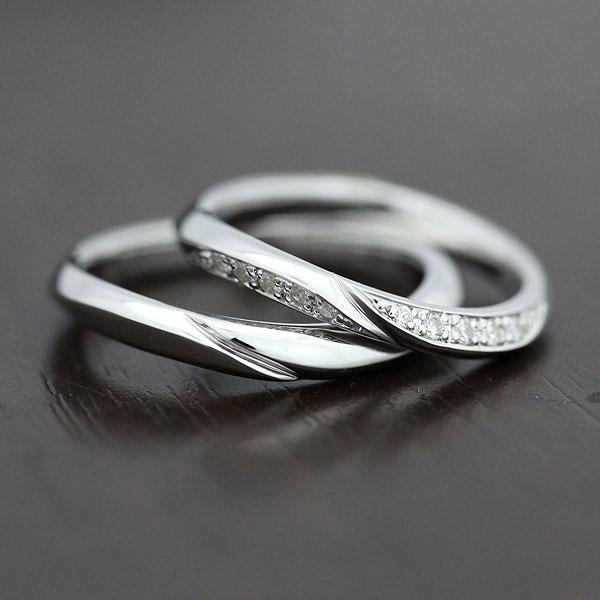 K10WG シンプルラインリング ダイヤモンド 0.10ct マリッジリング ペアリング【結婚指輪】