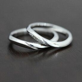 結婚指輪 ペアリング プラチナ PT100(Pt10%) シンプルライン ダイヤ 0.03ct マリッジリング ギフト プレゼント 彼女