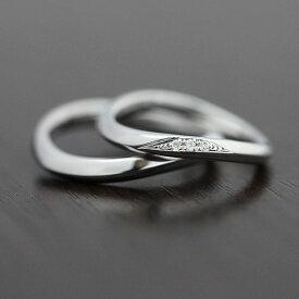 PT100(Pt10%) ダイヤモンド 0.03ct マリッジリング プラチナ ペアリング【結婚指輪】