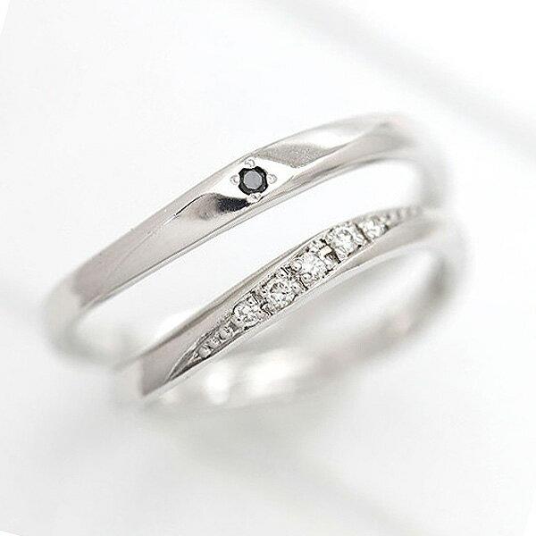 PT100(Pt10%) ダイヤモンド 0.05ct ブラックダイヤ 0.01ct プラチナ ペアリング【結婚指輪】