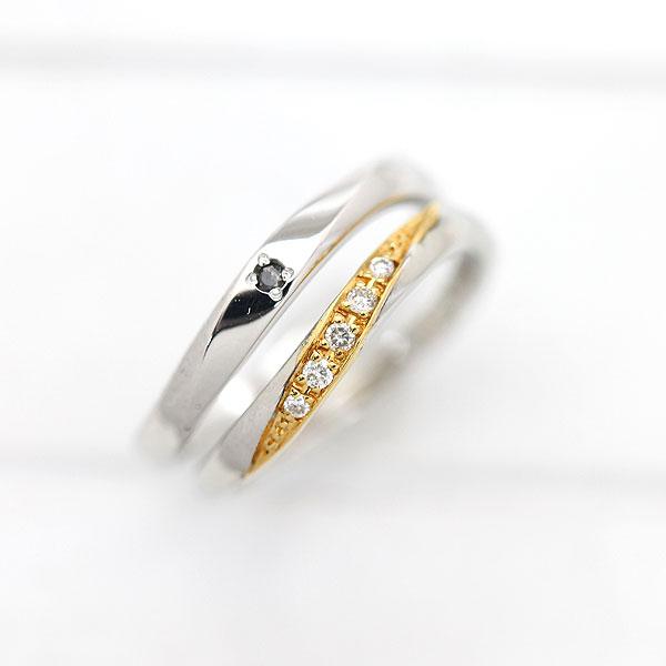 PT100(Pt10%)/K18YG ダイヤモンド 0.05ct ブラックダイヤ 0.01ct プラチナ イエローゴールド ペアリング【結婚指輪】