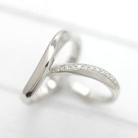 PT100(Pt10%) S字 ラインリング ダイヤモンド 0.10ct プラチナ マリッジリング ペアリング【結婚指輪】