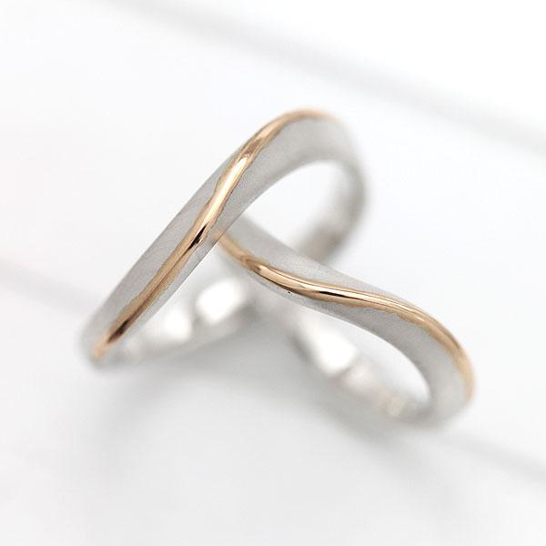 PT900(Pt90%)/K18PG S字 ラインリング プラチナ ピンクゴールド マリッジリング コンビ ペアリング【結婚指輪】