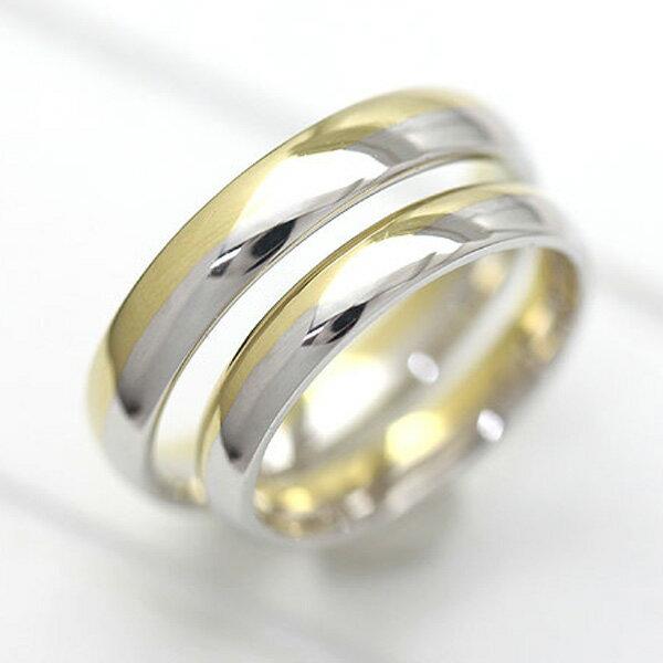 PT900(Pt90%)/K18YG プラチナ イエローゴールド マリッジリング コンビ 甲丸リング ペアリング【結婚指輪】