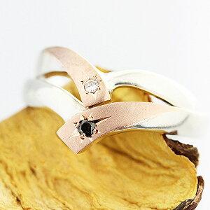 結婚指輪 ペアリング 2本セット価格 コンビ プラチナ PT900 K18PG クロスライン V字 星留め ブラックダイヤ 0.02ct ホワイトダイヤ 0.01ct マリッジリング