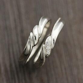 結婚指輪 ペアリング 2本セット価格 PT100 (プラチナ10%) ミル リボン ダイヤモンド 0.03ct マリッジリング