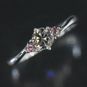 婚約指輪 プラチナリング ティファニー爪 ホワイトダイヤ 0.3ct以上VVS1 ピンクダイヤ PT900 (Pt90%) エンゲージリング