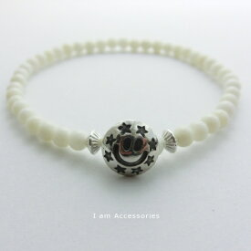 Star Smile White Coral Bracelet Silver925 / スタースマイル 白珊瑚 ブレスレット シルバー925【受注生産商品】【メール便可】【オリジナルアクセ】【シンプル】【ホワイトサンゴ】