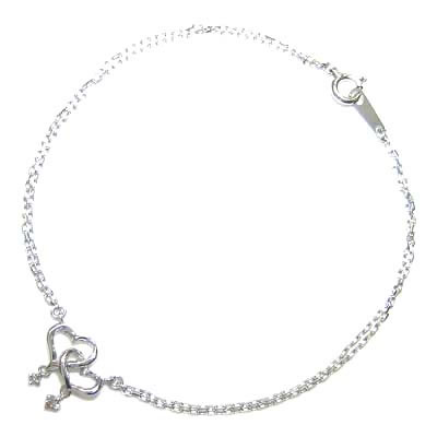 ( Brand Jewelry me. ) K10ホワイトゴールド ダイヤモンドブレスレット(ハートモチーフ)【楽ギフ_包装】