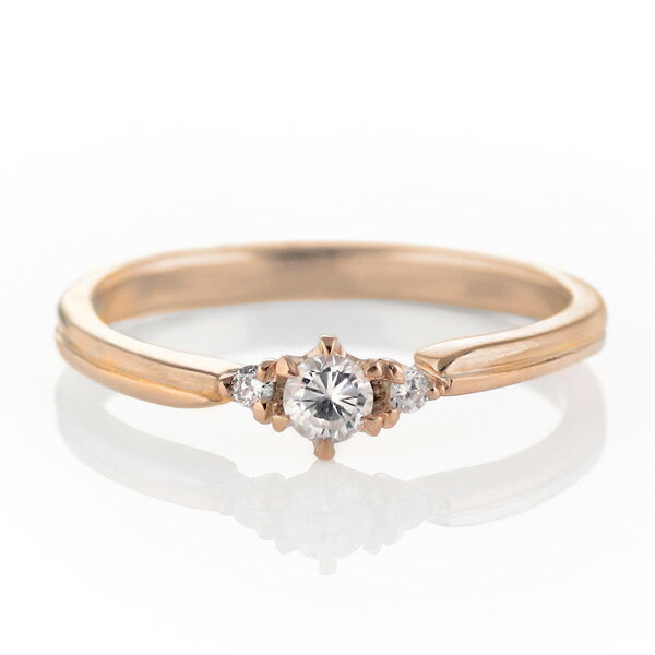 ダイヤモンド リング 婚約指輪 K18ピンクゴールド エンゲージリング 一粒 ストレート【楽ギフ_包装】