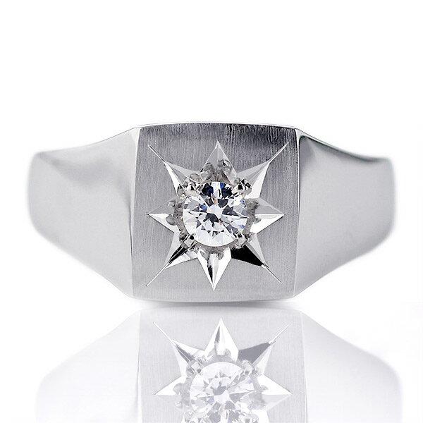 結婚指輪 印台リング 指輪 キュービックジルコニア 一粒 シルバー925 リング マリッジリング【楽ギフ_包装】