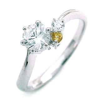 婚約指輪(エンゲージリング) ( 11月誕生石 ) シトリン プラチナ ダイヤモンドリング(ラウンドブリリアント)【楽ギフ_包装】
