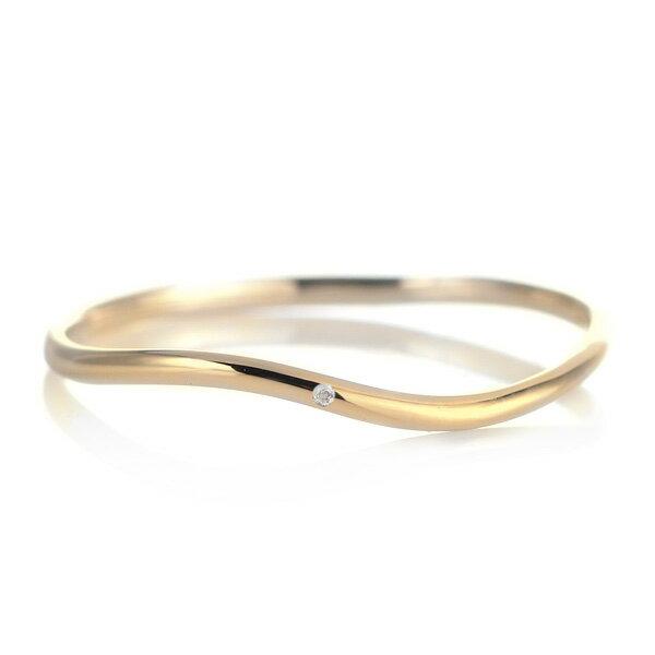 結婚指輪 マリッジリング 18金 ゴールド 甲丸 ウエーブ 天然石 ムーンストーン【楽ギフ_包装】