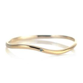 結婚指輪 マリッジリング 18金 ゴールド 甲丸 ウエーブ 天然石 ブルートパーズ【楽ギフ_包装】
