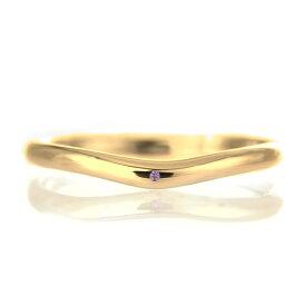 結婚指輪 マリッジリング 18金 ゴールド 甲丸 V字 天然石 アメジスト【楽ギフ_包装】 末広 楽天スーパーSALE