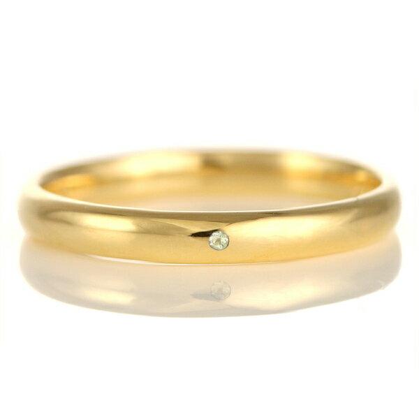 結婚指輪 マリッジリング 18金 ゴールド 甲丸 天然石 ペリドット【楽ギフ_包装】