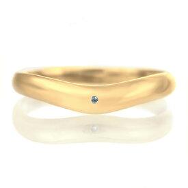結婚指輪 マリッジリング 18金 ゴールド 甲丸 V字 天然石 ブルートパーズ【楽ギフ_包装】